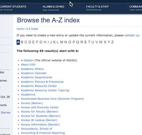 Alphabetical site indexes list all of the important areas of content on a site in alphabetical order