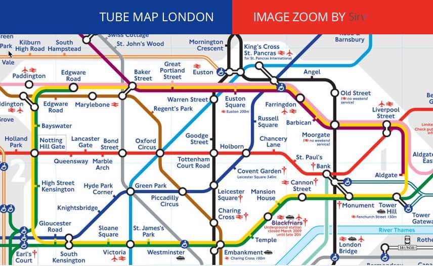 Map of the London Underground System showing the core area in the center of Metropolitan London